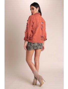 Orange Distressed Denim Jacket by I Saw It First