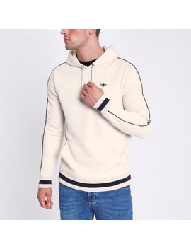 Stone Wasp Embroidered Slim Fit Tipped Hoodie by River Island
