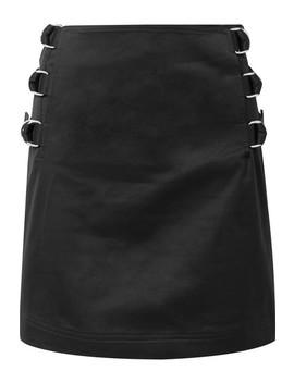 Silk Twill Trimmed Cotton Twill Mini Skirt by Helmut Lang