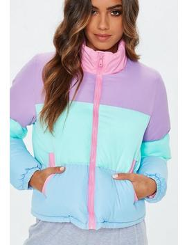 Multi Pastel Colour Block Puffer Jacket by Missguided