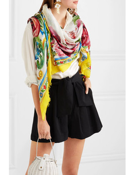 Maiolica Printed Modal And Cashmere Blend Scarf by Dolce & Gabbana