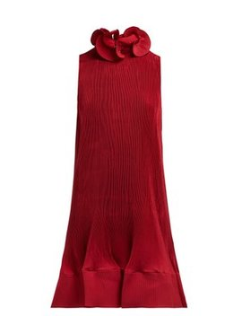 Ruffled Pleated Crepe Dress by Tibi