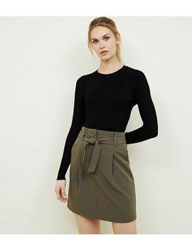 Khaki Paperbag Waist Mini Skirt by New Look