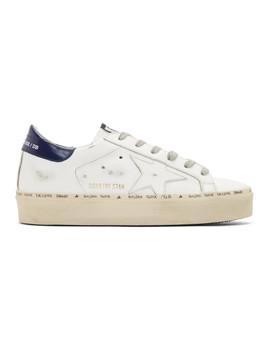 White & Bue Hi Star Platform Sneakers by Golden Goose