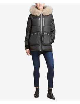 Faux Fur Trim Hooded Puffer Coat by Dkny