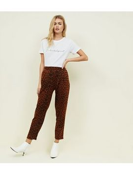 Brown Leopard Print Pull On Trousers by New Look