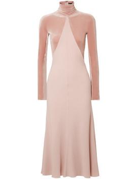Velvet Paneled Crepe Midi Dress by Haider Ackermann