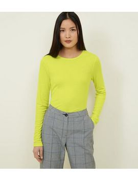 Neon Green Ribbed Crew Neck Long Sleeve Top by New Look