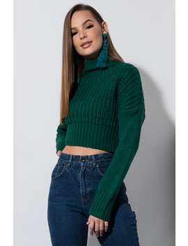 Rock With You Cropped Mock Neck Sweater by Akira