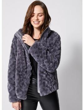 Grey Swirl Faux Fur Coat by Dorothy Perkins