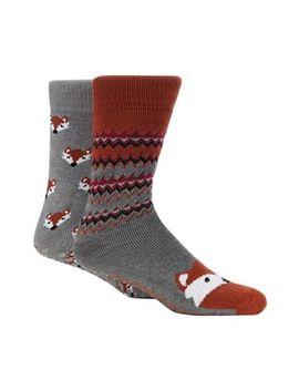 Totes   2 Pack Grey Fox Print Slipper Socks by Totes