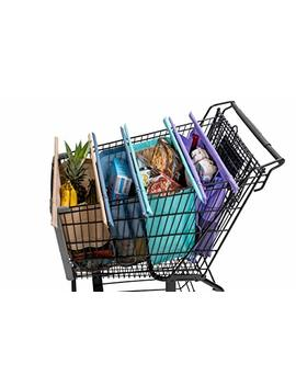 Lotus Trolley Bags 2.0  W/ Lrg Cooler Bag & Egg/Wine Holder! 4 Detachable, Foldable, Reusable Grocery Bags Sized For Usa. With Removable Poles. Eco Friendly Shopping Cart Tote. by Lotus Trolley Bag