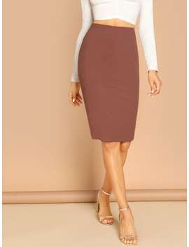Slim Fit Pencil Skirt by Shein
