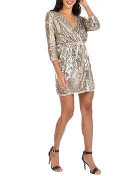 Venezia Sequin Surplice Dress by Tfnc
