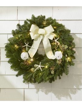 "Coastal Evergreen Christmas Wreath, Lighted 24"" by L.L.Bean"