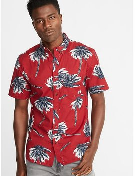 Slim Fit Printed Built In Flex Everyday Shirt For Men by Old Navy