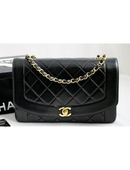 "Chanel Medium Vintage Black Lambskin ""Diana"" Flap Bag 24k Gh Bag Authenticated! by Chanel"