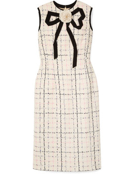Grosgrain Trimmed Checked Tweed Dress by Gucci