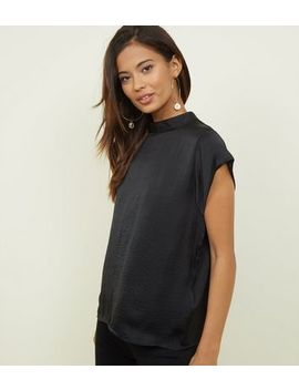 Jdy Black Satin High Neck Top by New Look