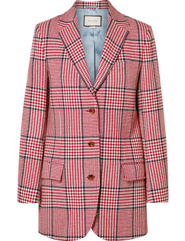 Prince Of Wales Checked Wool Blend Blazer by Gucci