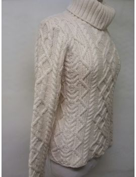 Paul James Made In England Cableknit Natural Turtleneck S by Paul James