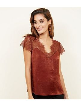 Rust Satin Lace Yoke Top by New Look