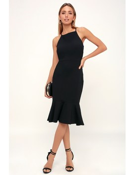 This Could Be Love Black Bodycon Midi Dress by Lulus