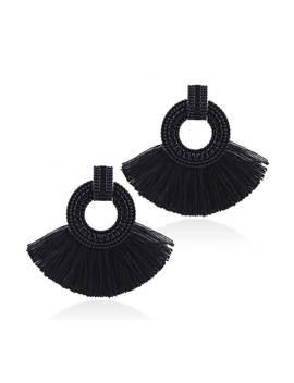 Tassel Decorated Hoop Drop Earrings by Sheinside