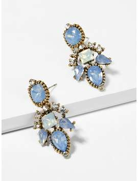 Waterdrop & Square Gemstone Engraved Drop Earrings by Sheinside