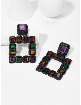 Color Block Open Square Drop Earring by Sheinside