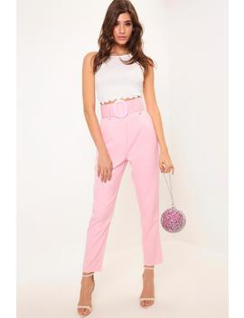 Pink High Waist Belted Trousers by I Saw It First