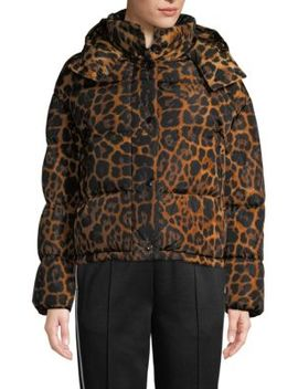 Caille Matte Leopard Print Puffer Jacket by Moncler