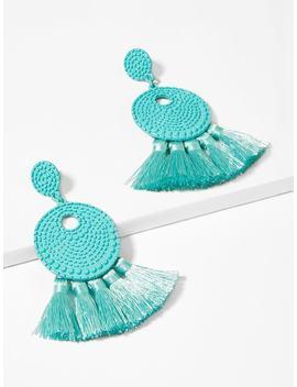 Textured Round Tassel Drop Earrings by Sheinside