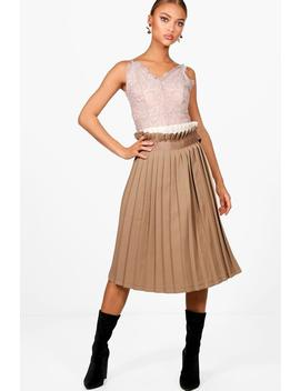 Contrast Woven Pleated Wrap Midi Skirt by Boohoo