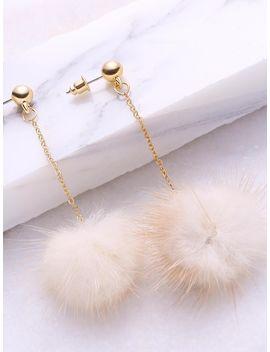 Beige Pom Pom Drop Earrings by Sheinside