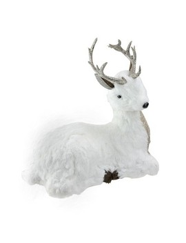 """Northlight 11"""" Gilded White Christmas White And Gold Sitting Deer Table Top Decoration by Northlight"""