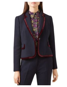 Celia Velvet Trim Blazer   100 Percents Exclusive by Hobbs London