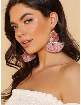 Multi Layered Fringe Earrings Mauve Pink by Sheinside