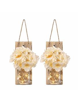 Rustic Mason Jar Sconces For Home Decor, Decorative Flower Wall Decor With Led Strip Lights, Silk Hydrangea, And Wrought Iron Hooks For House Decoration (Set Of 2), Brown by Gbtree