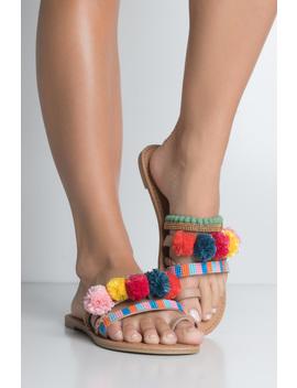 Pom Pom Beaded Embellished Flat Sandal by Akira
