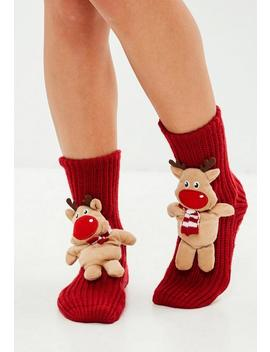 Red Reindeer Boxed Socks by Missguided
