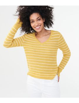 Striped V Neck Waffle Sweater by Aeropostale