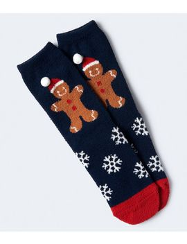 Gingerbread Man Fuzzy Crew Socks by Aeropostale