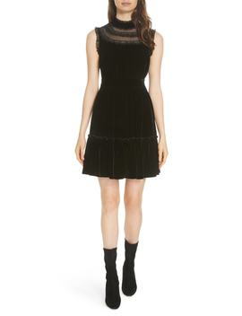 Lace Trim Velvet Dress by Kate Spade New York