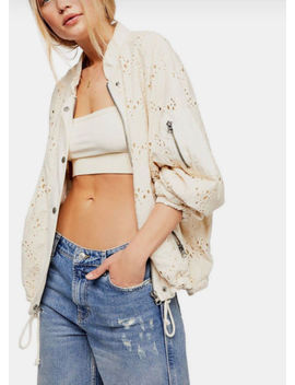 Free People Ob787084 Daisy Jane Cotton Embroidered Bomber Jacket Ivory $168 by Ebay Seller