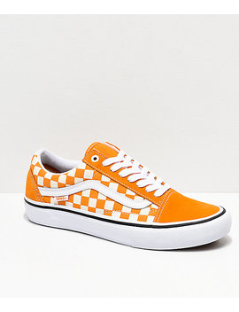 Vans Old Skool Pro Cheddar & White Checkerboard Skate Shoes by Vans