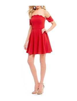 Scalloped Off The Shoulder Fit And Flare Dress by Jodi Kristopher