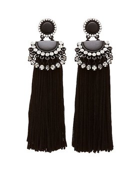 Crystal Fringe Tassel Earrings by Charlotte Russe