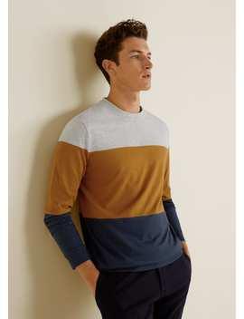 T Shirt Empiècement Contrasté by Mango