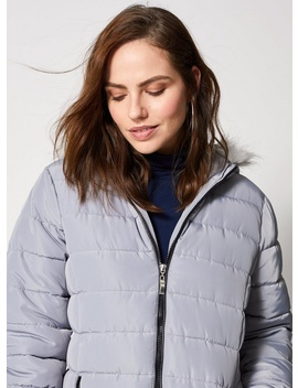 Grey Faux Fur Hood Padded Jacket by Dorothy Perkins